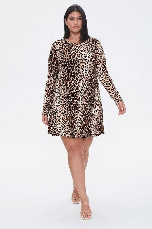 Model wearing the brown and black lepord-print mid-thigh length dress