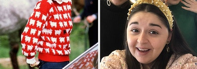 to the left: princess diana in a red sheep sweater, to the right: three buzzfeed writers in pearled headbands