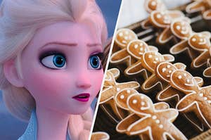 Elsa is on the left looking surprised with a batch of gingerbread cookies on the right