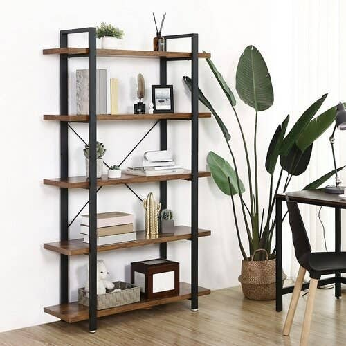 Rustic bookshelf with iron frame and wood shelves