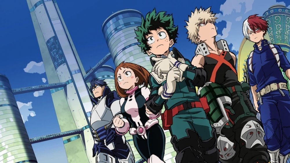 Izuki and his fellow classmates standing outside with the city skyline behind them