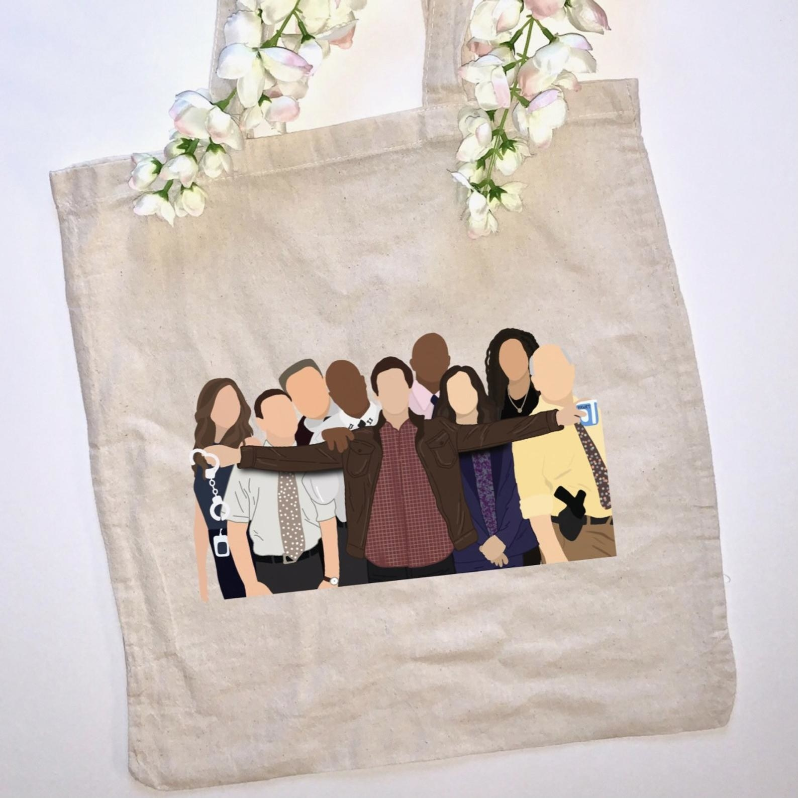 Minimalist art of the whole team on a canvas tote