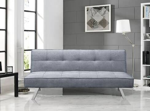 Armless tufted sofa with silver legs