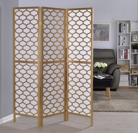 Solid wood room divider with rice paper screen
