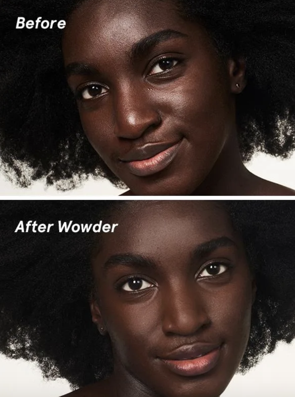before and after photo of model with and without Wowder