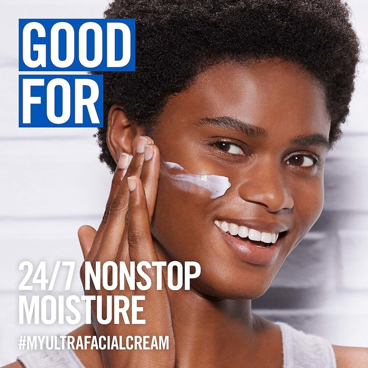 A model applying the cream with text 24/7 nonstop moisture