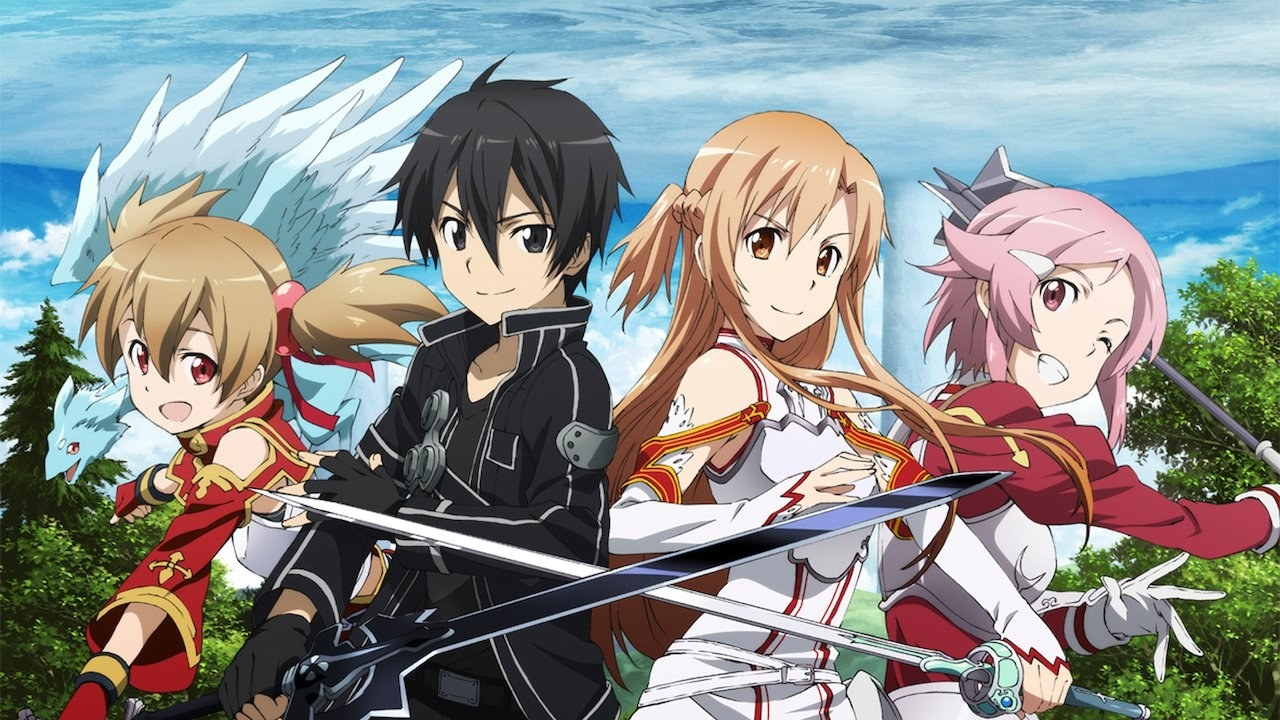 Kirito's avatar, as well as other SAO players, smiling and holding out their weapons