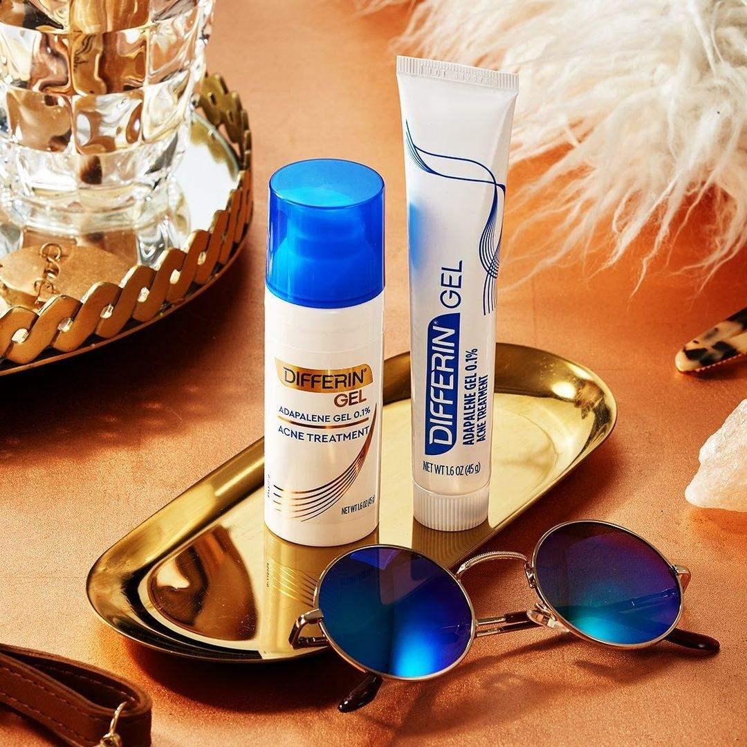 The tube of acne gel