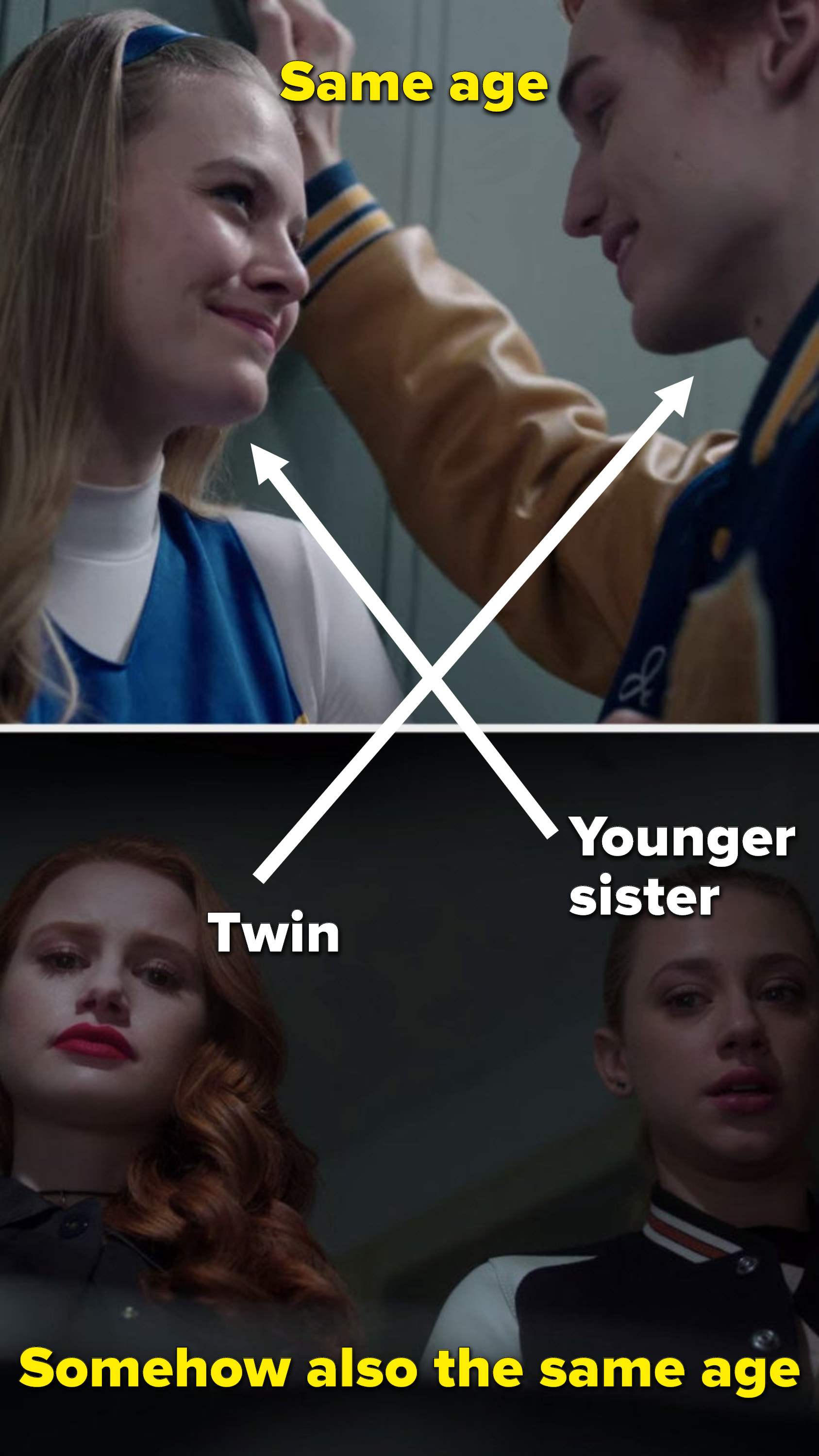 """""""Same age"""" written over Polly and Jason, with arrows pointing Polly to her younger sister Betty and Jason to his twin Cheryl, but """"Somehow also the same age"""" is written over Cheryl and Betty"""