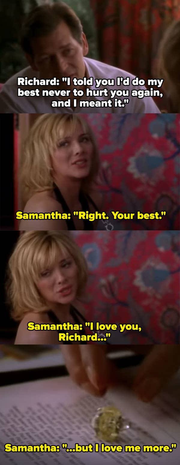 """Samantha realizes she can't trust Richard and breaks it off, """"I love you Richard, but I love me more"""""""