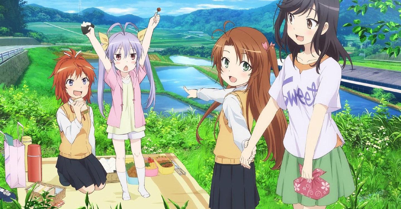 Hotaru Ichijo, Renge Miyauchi, Natsumi Koshigaya and Komari Koshigaya having a picnic in the countryside