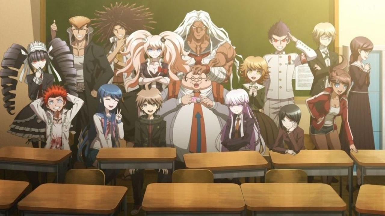 The high school students belong to Hope's Peak Academy; they are sitting down on tables in front of a blackboard in a classroom