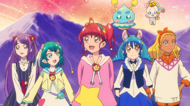 Five different Precure members; there is a mountain behind them