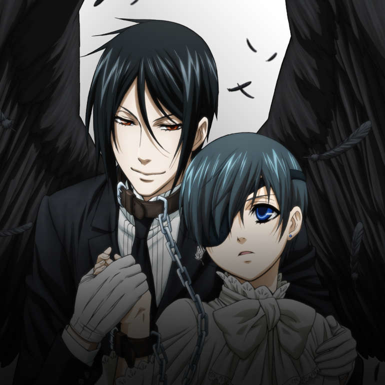 Ciel Phantomhive and Sebastian, a demon disguised as a butler; Ciel has a chain attached around his right hand, which links up to Sebastian