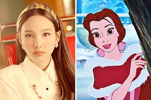 An image of nayeon from twice next to an image of Belle from beauty and the beast