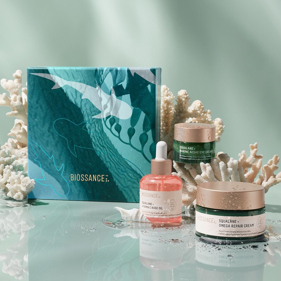 The gift set with the three skincare goods