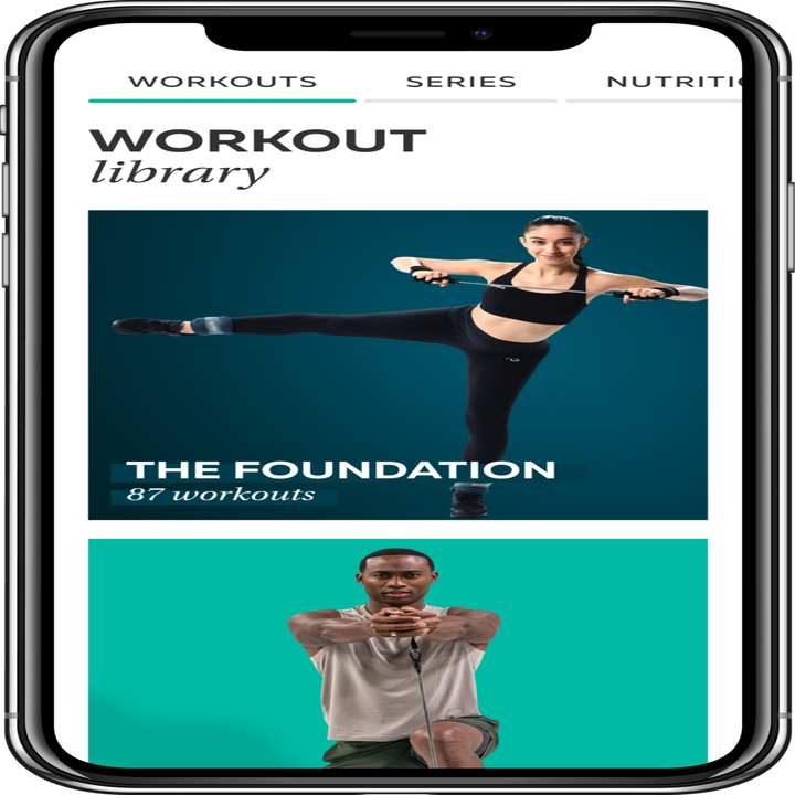 a phone open to P.volve's workout library