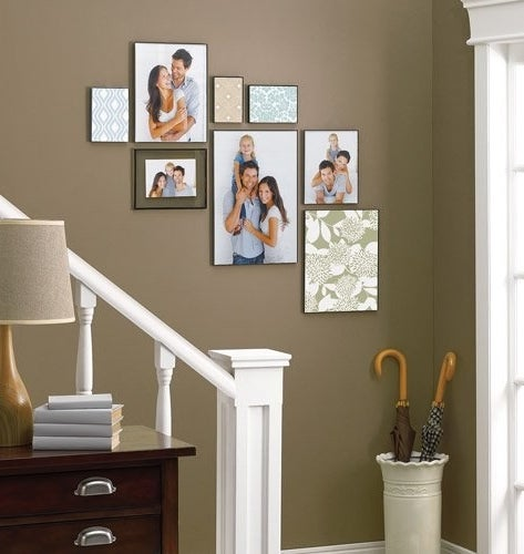 A home with floating frames hung up
