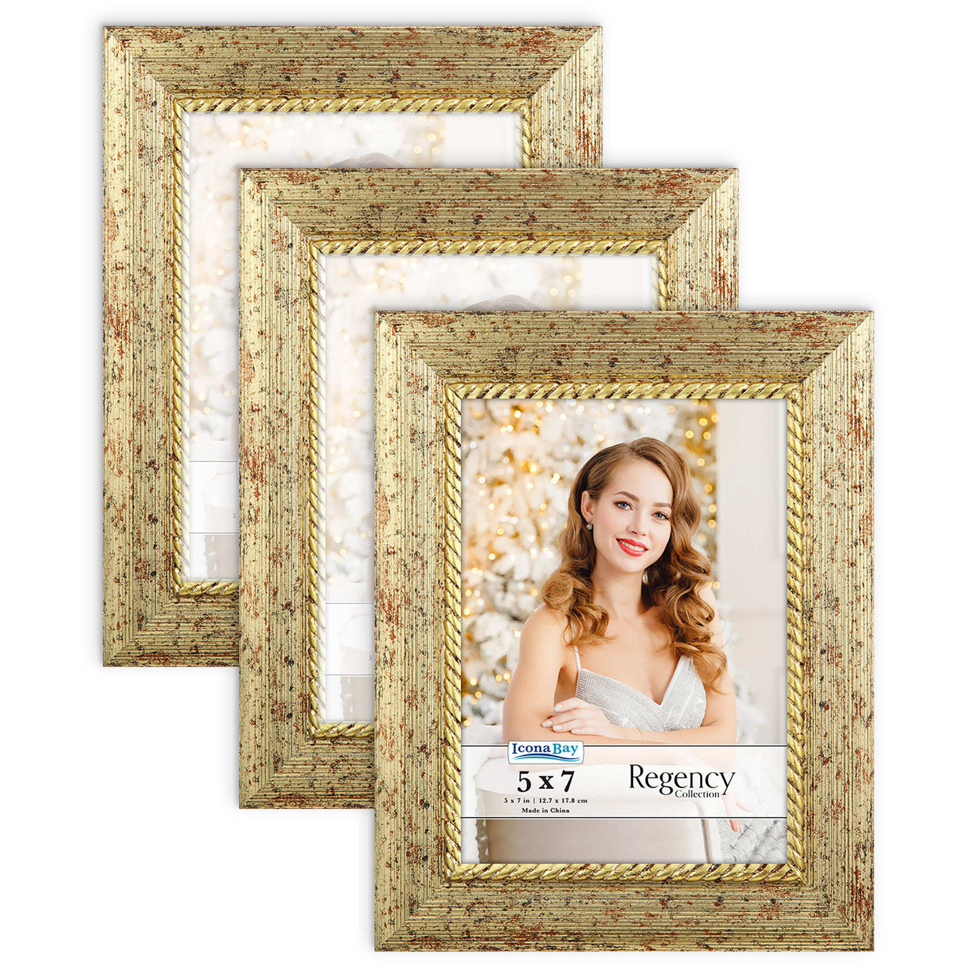 A few gold photo frames