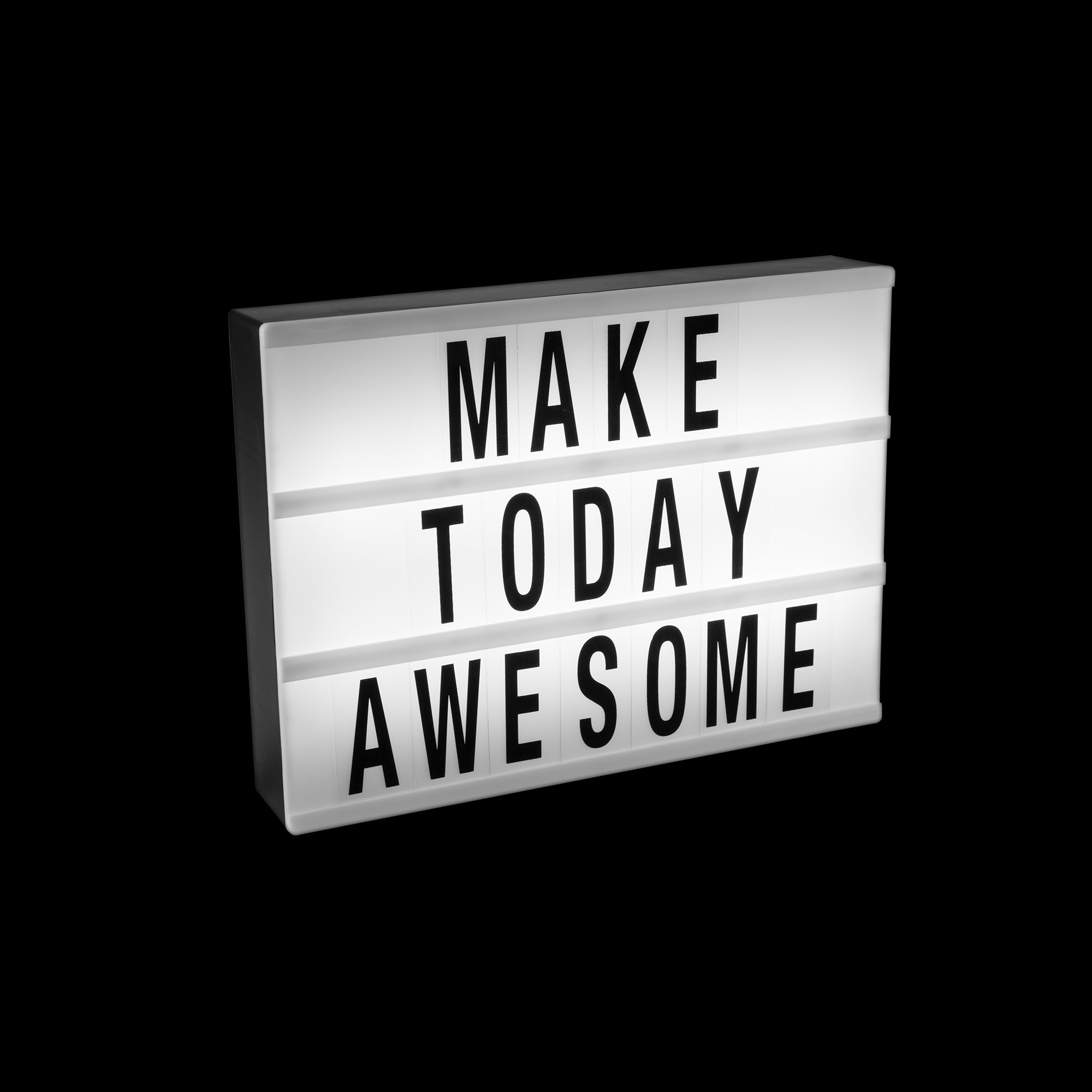 """An image of light box with """"Make Today Awesome"""" written"""