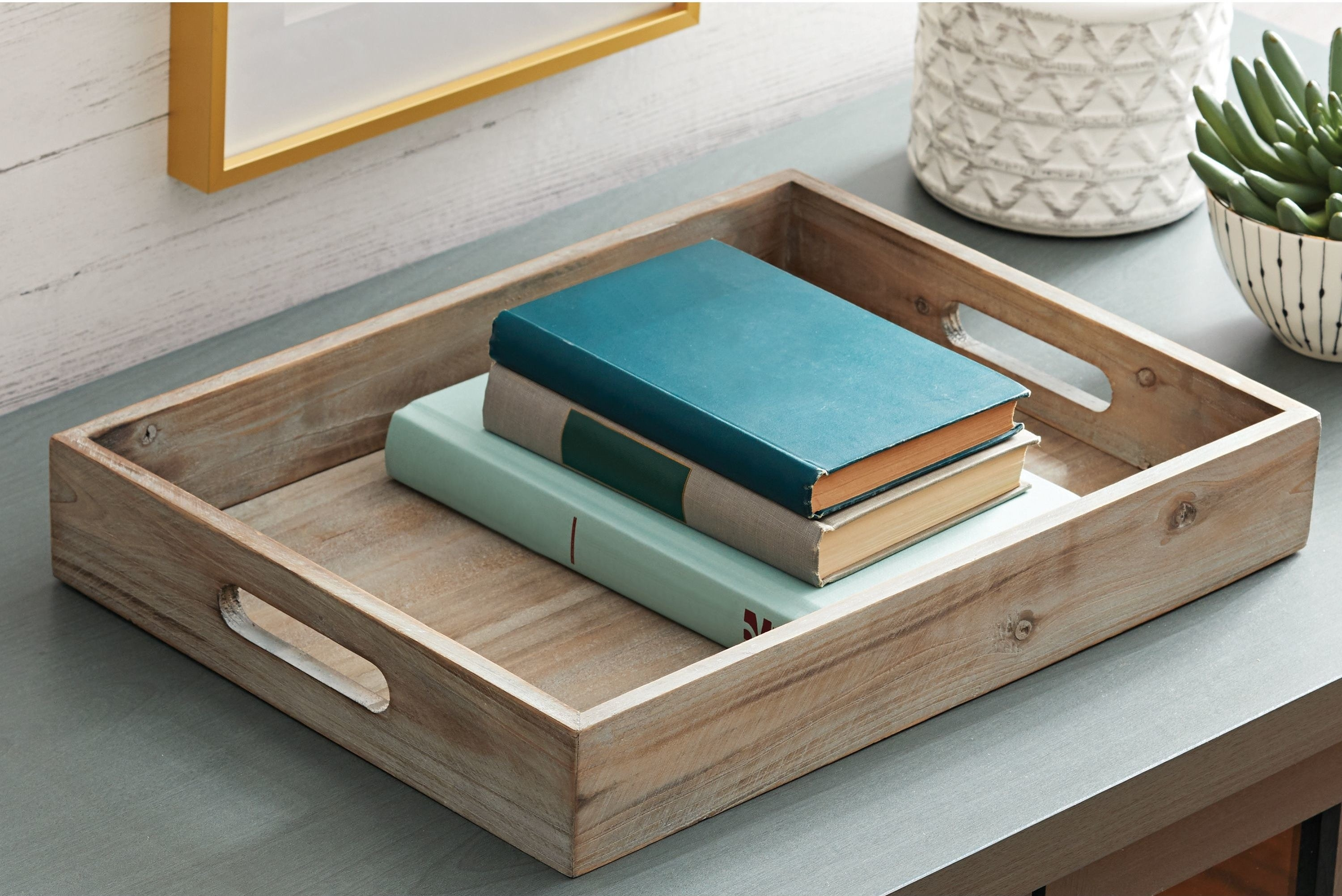 A wooden tray on a table