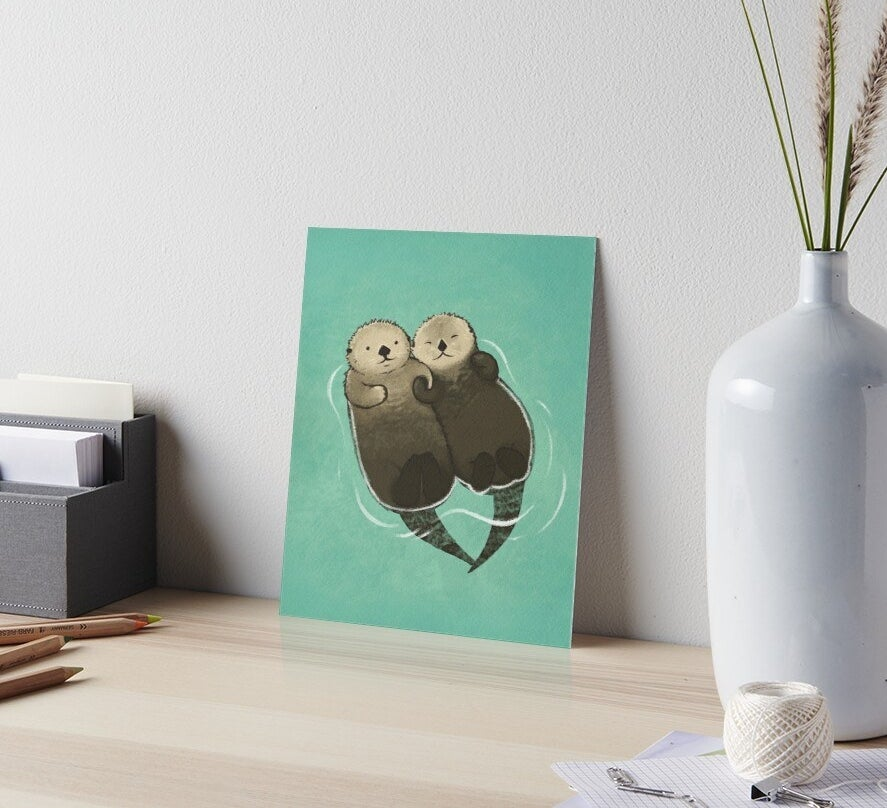 The art print placed on a desk