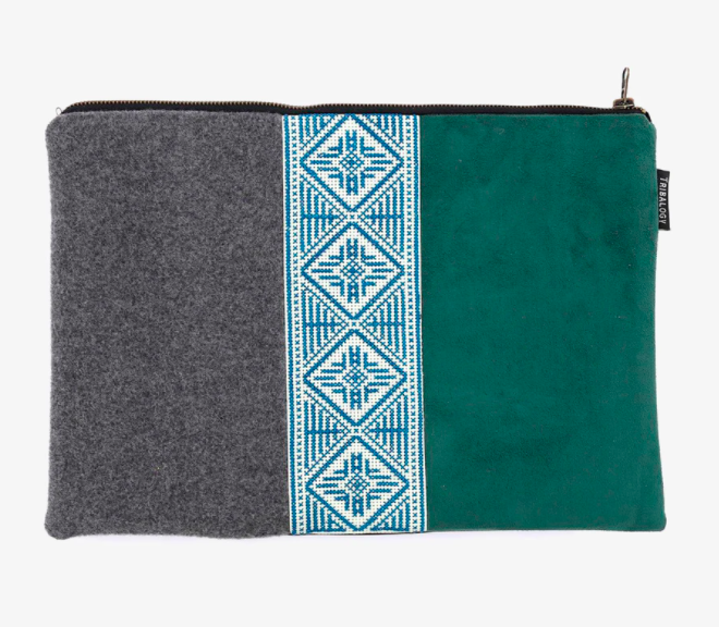 A handmade laptop sleeve with Asian and Middle Eastern design influences