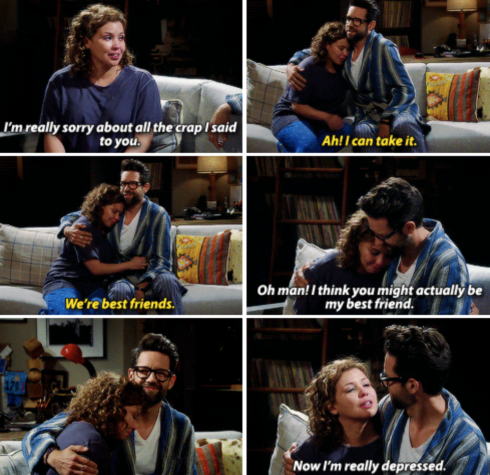 """Justina Machado as Penelope Alvarez and Todd Grinnell as Pat Schneider in the show """"One Day at a Time."""""""