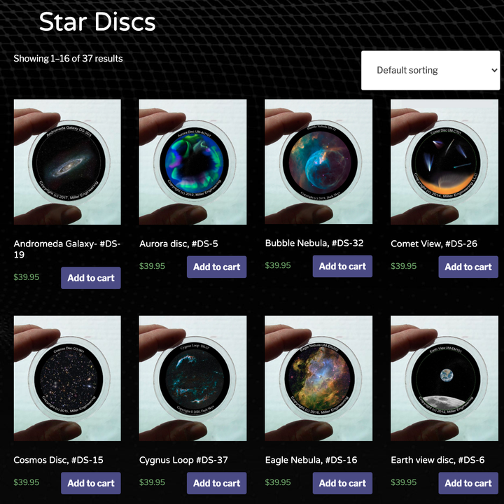 A listing of star discs for sale on the Dark Skys website