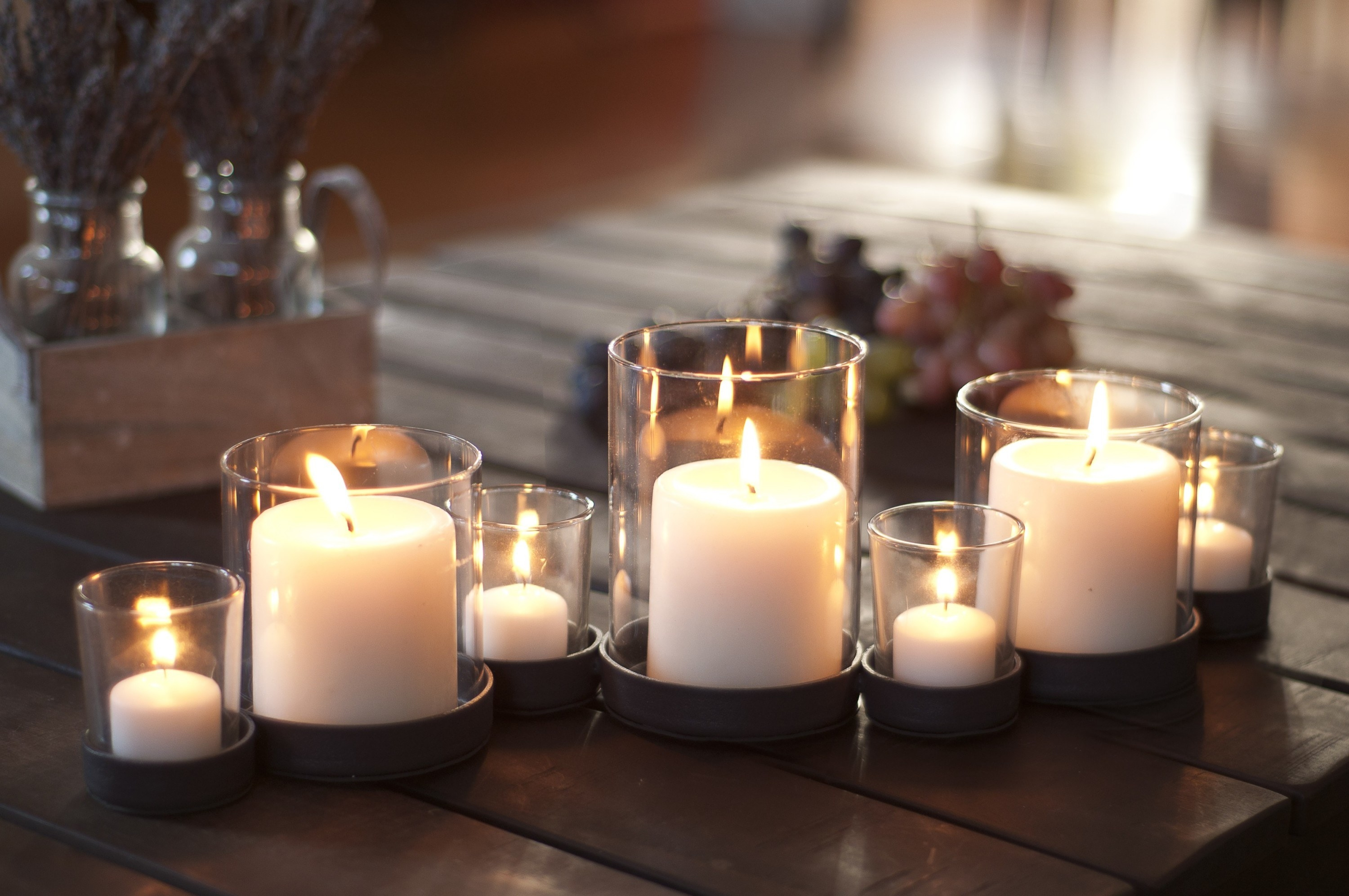 Silver candle holders in a home