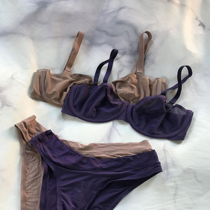 a purple and taupe set