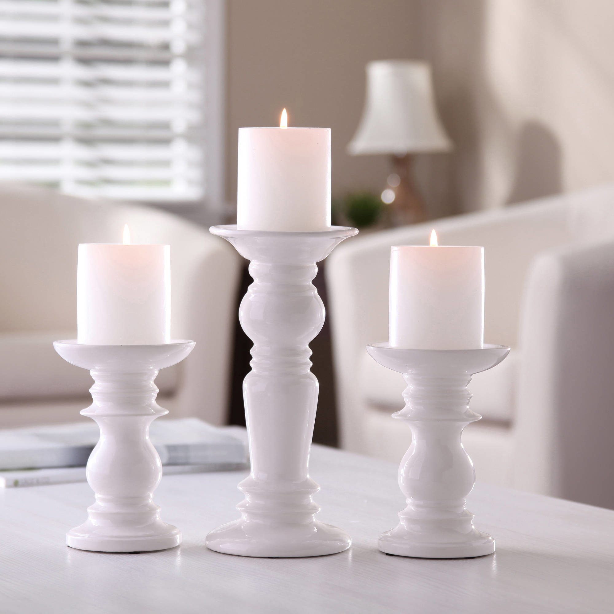 White candle pillars in a home