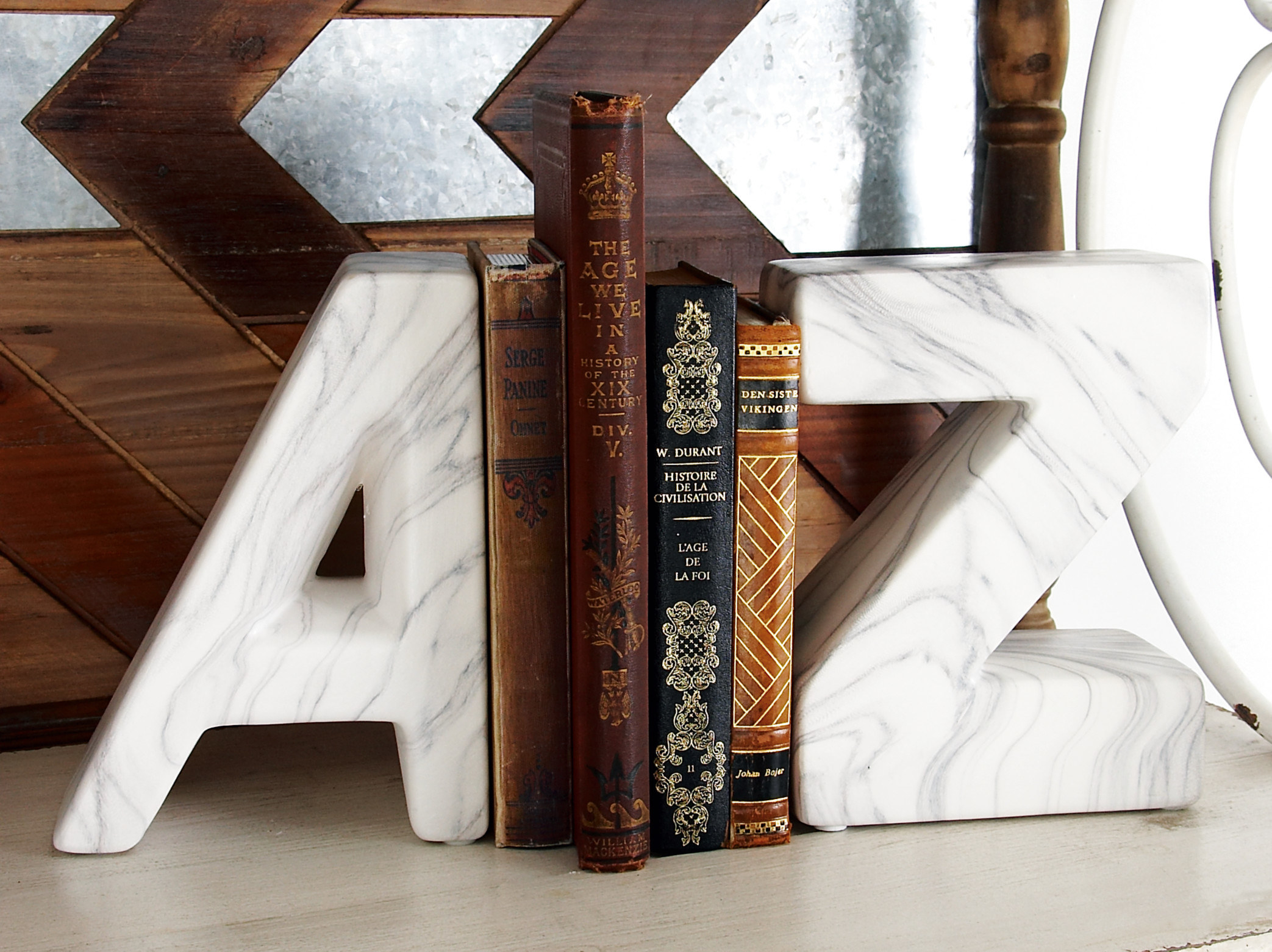 A set of marble bookends