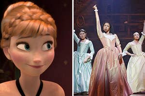 """Anna from """"Frozen"""" is smiling on the left with The Schuyler Sisters posing on the right"""