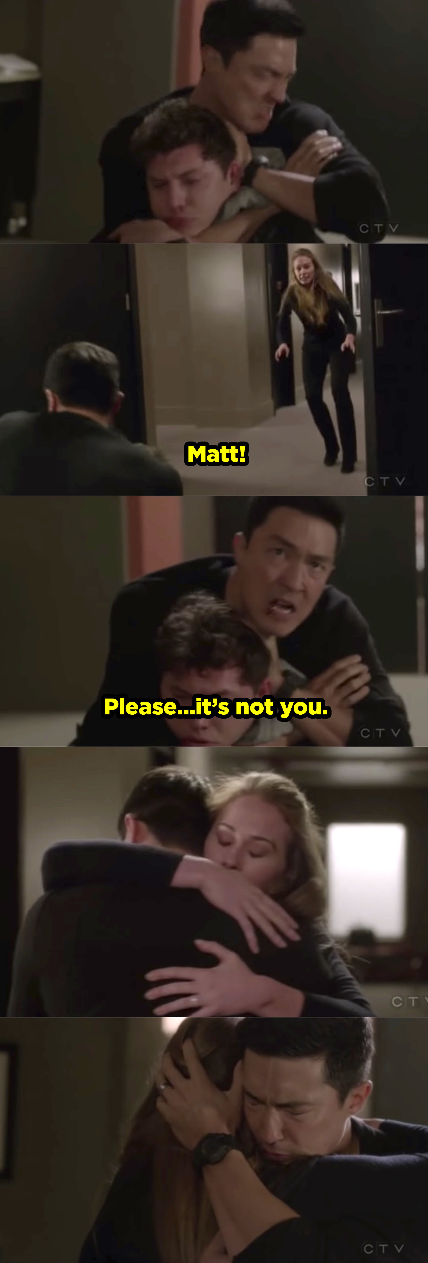 Matt nearly strangling the kidnapper but Kristy running in and yelling at him to stop. He stops and they embrace.