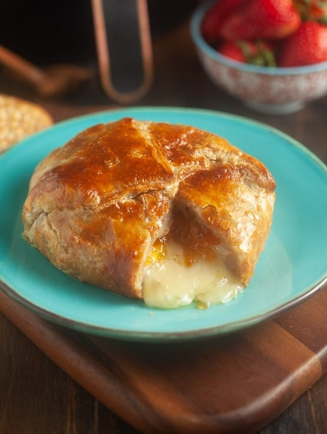 Melty baked Brie wrapped in phyllo dough.