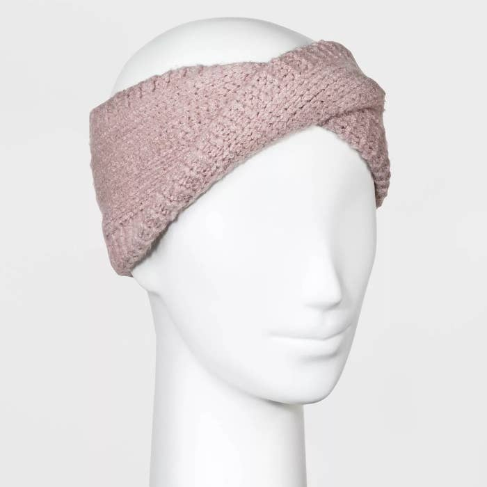 Pink knit head band