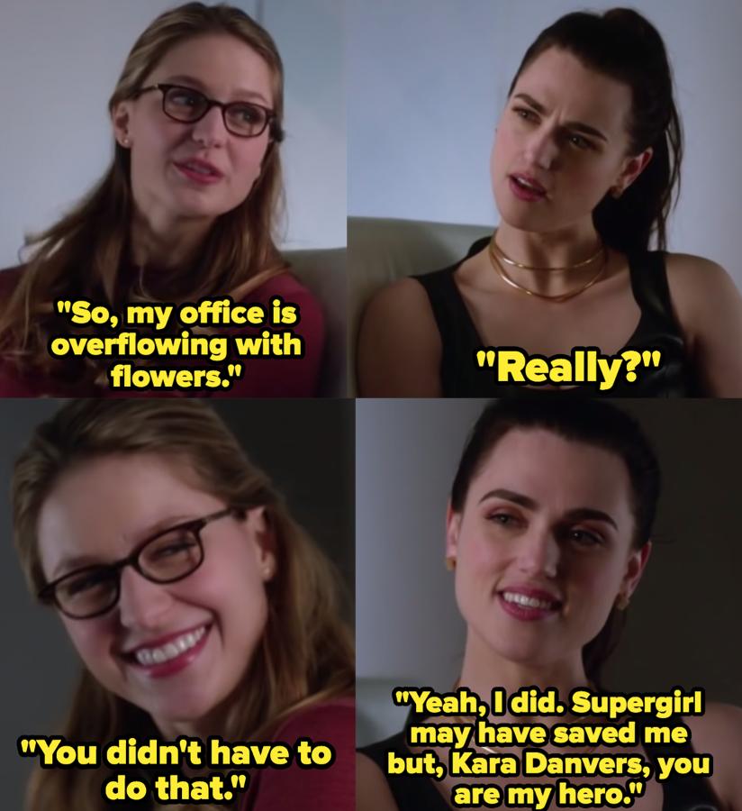 "Melissa Benoist as Kara Danvers / Kara Zor-El / Supergirl and Katie McGrath as Lena Luthor in the show ""Supergirl."""