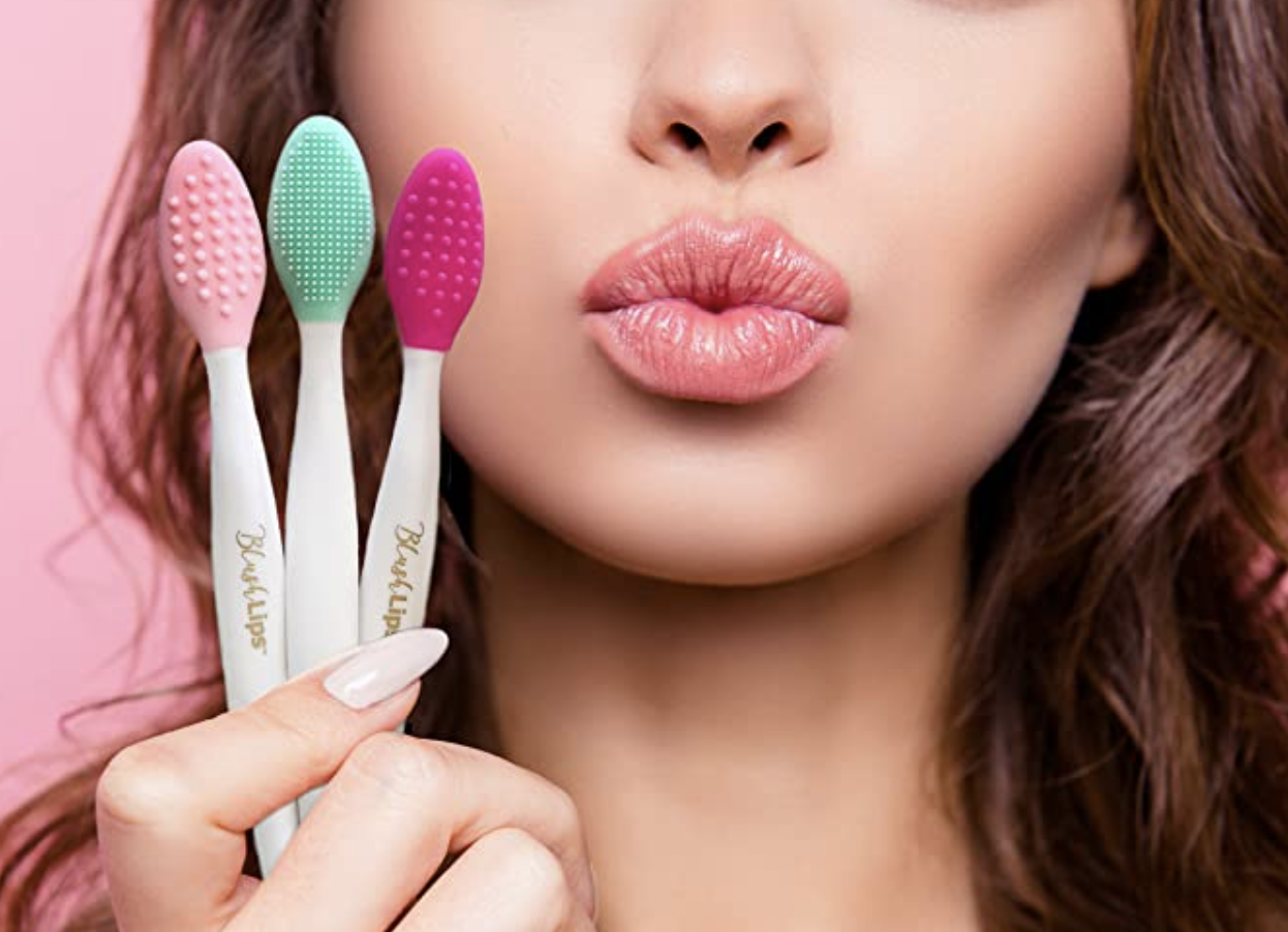 Person holding lip exfoliating tools