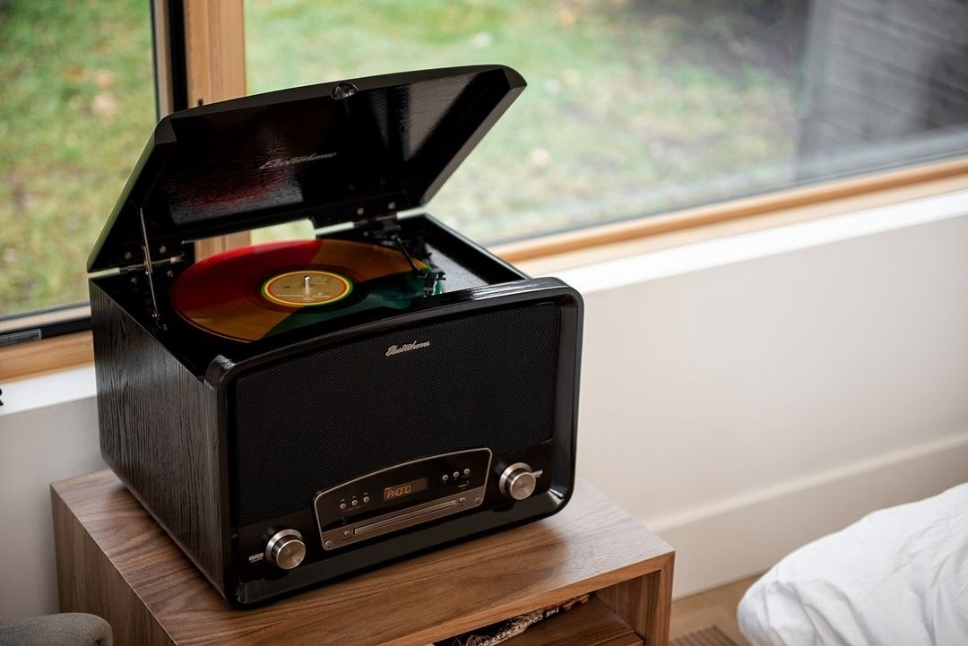 A large square record player