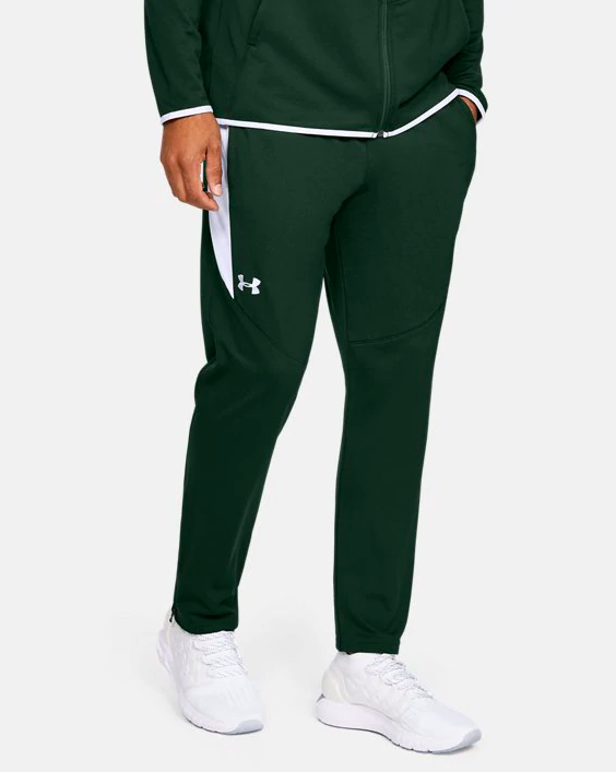 a model wearing the pants in forest green color