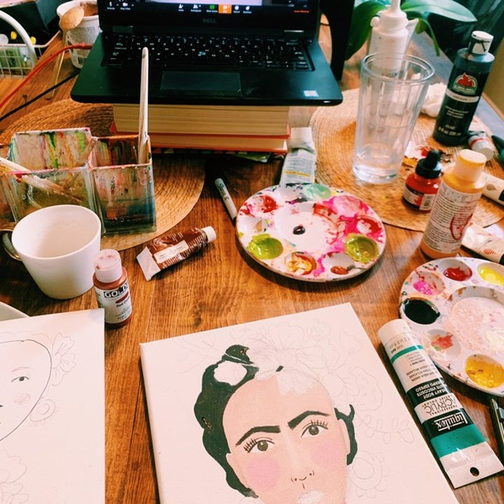 reader's photo of painting a Frida Kahlo painting along with a video art class