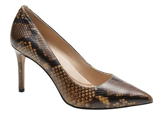 The shoes in color Brown Snakeskin Leather
