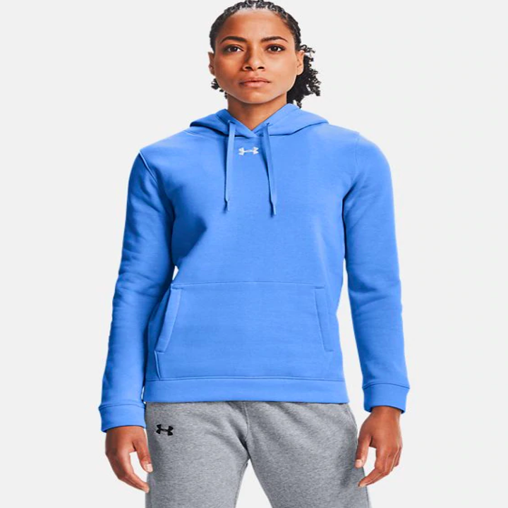 a model wearing the hoodie in blue