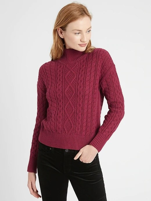 Model wearing the sweater in the color Rich Red Wine