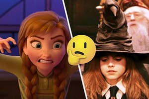 Anna is on the left with a think face emoji in the center and Hermione under a sorting hat on the right