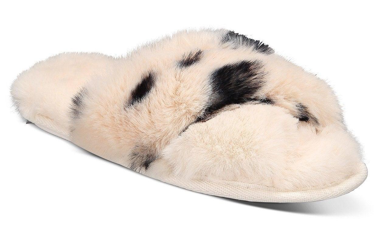the jenni animal print faux-fur crossband slipper
