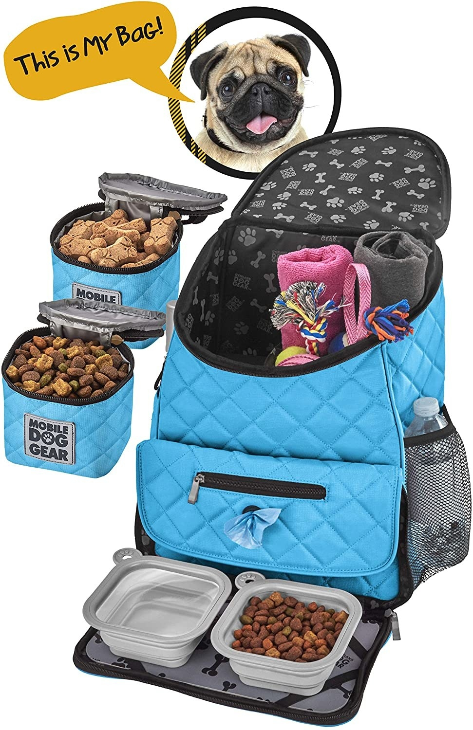 The blue backpack, food carriers, placemat, and silicone bowls