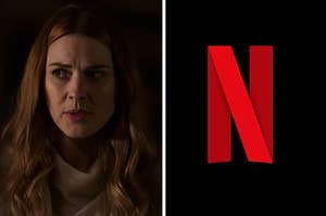 Mel on the left and the Netflix logo on the right