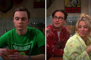 Sheldon is looking down on the left with Penny and Leonard sitting at a table
